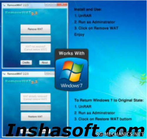 Скриншот к игре Активатор для Windows 7 RemoveWAT v2.2.6 от Hazar & Co (2011) PC